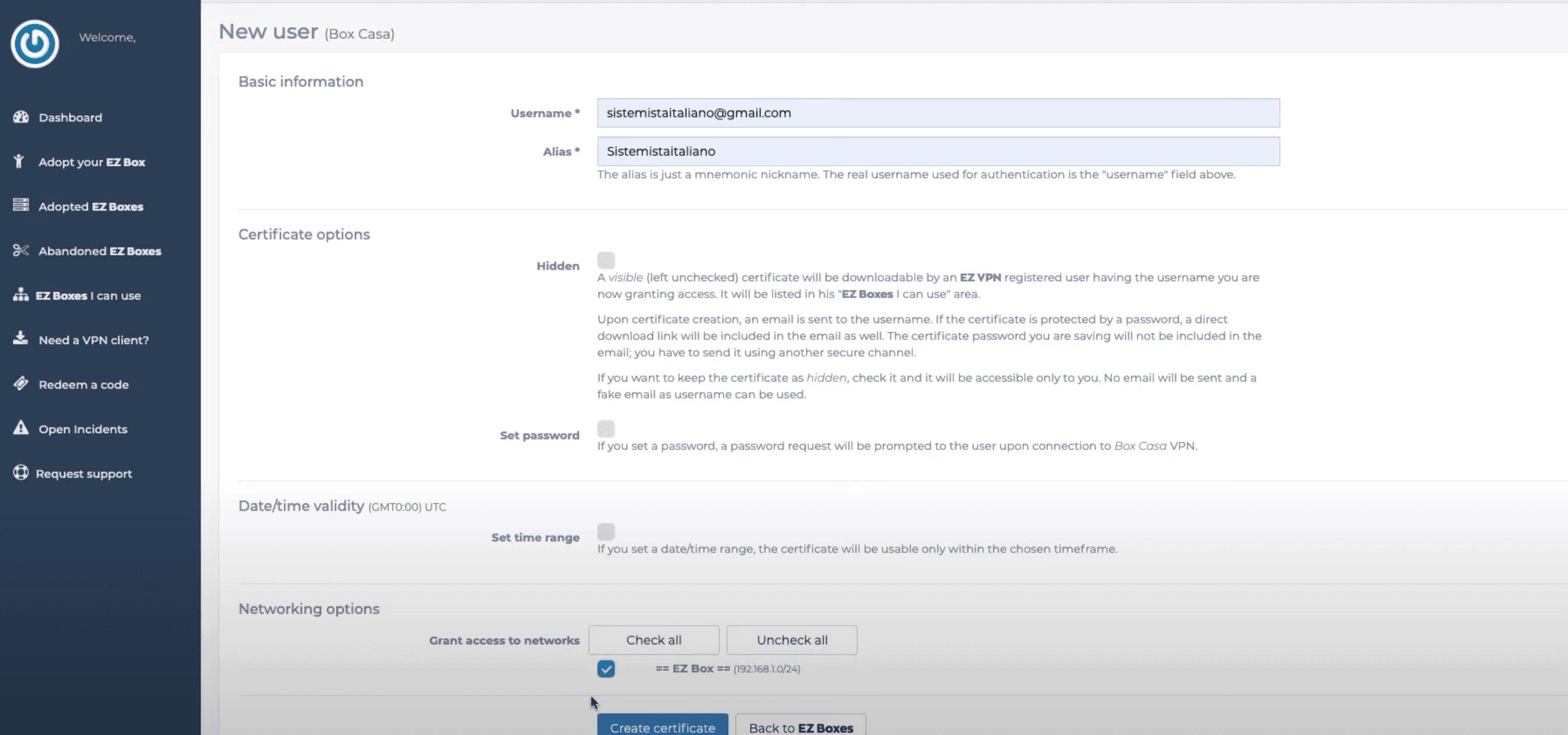 New users menu EZ Box