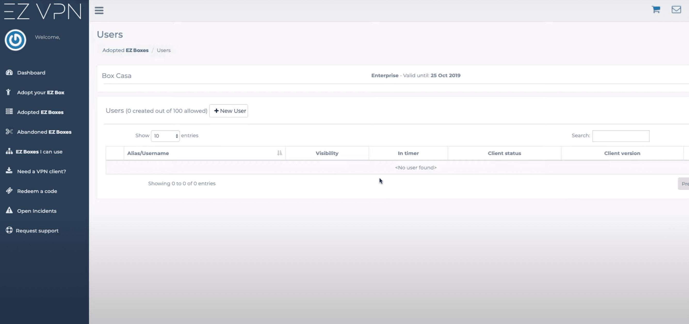 Menu users EZ Box configuration