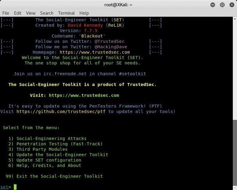 Social engineering toolkit terminal