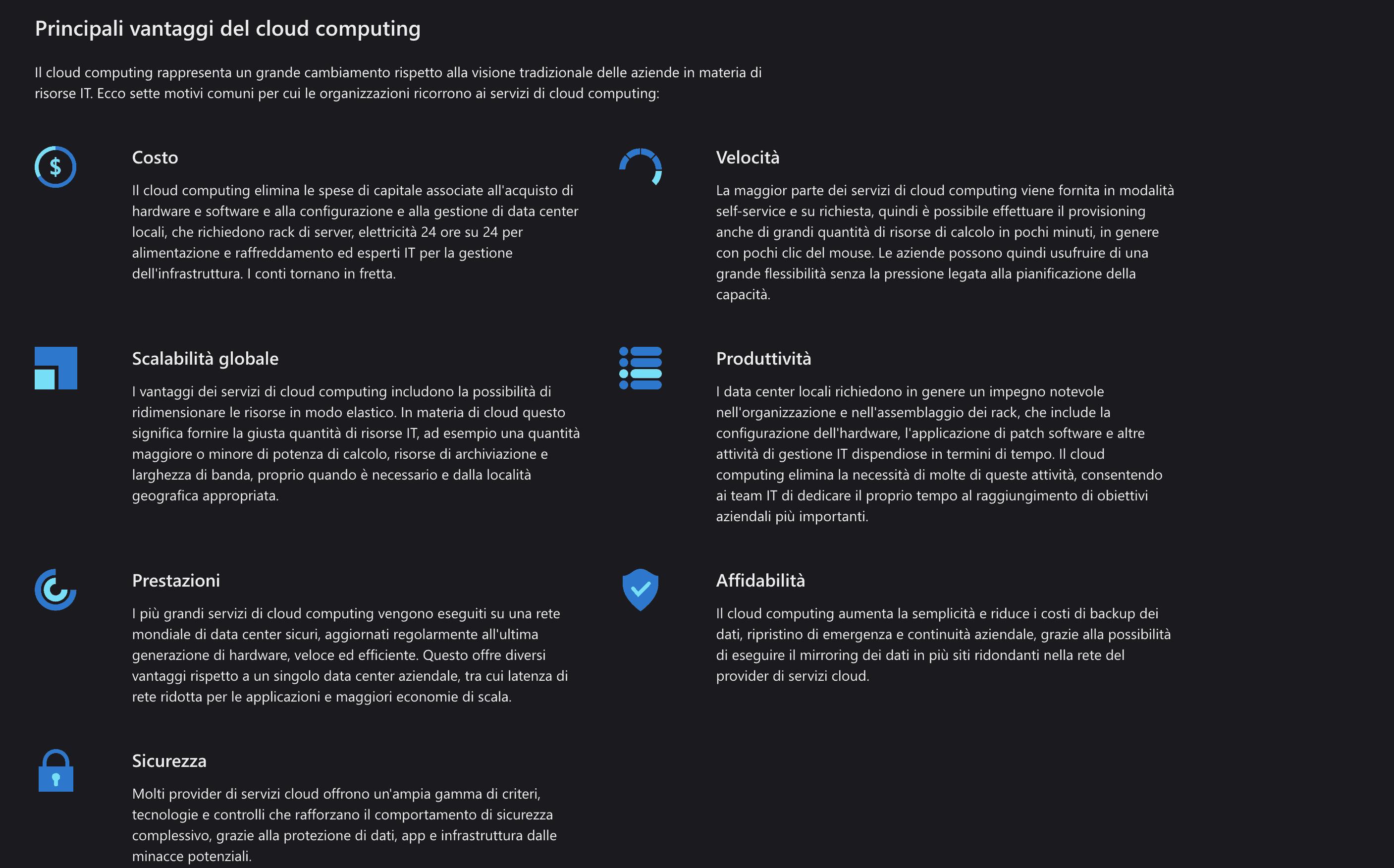 vantaggi del cloud computing Microsoft