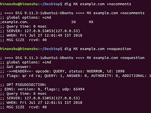 comando dig terminale linux