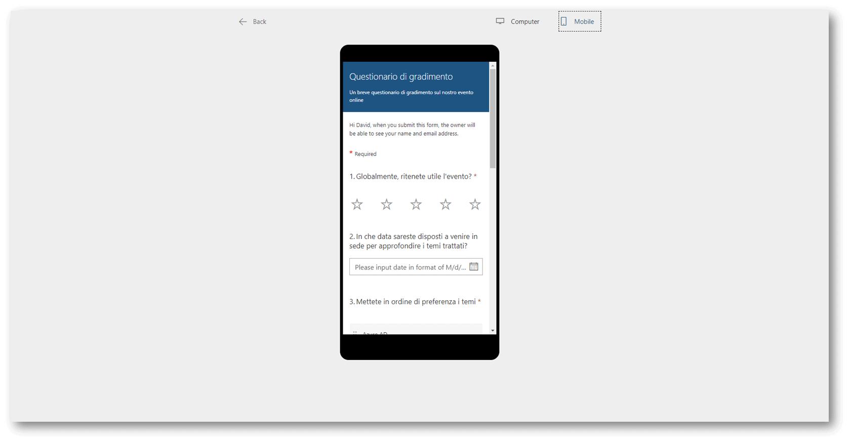 anteprima form smartphone