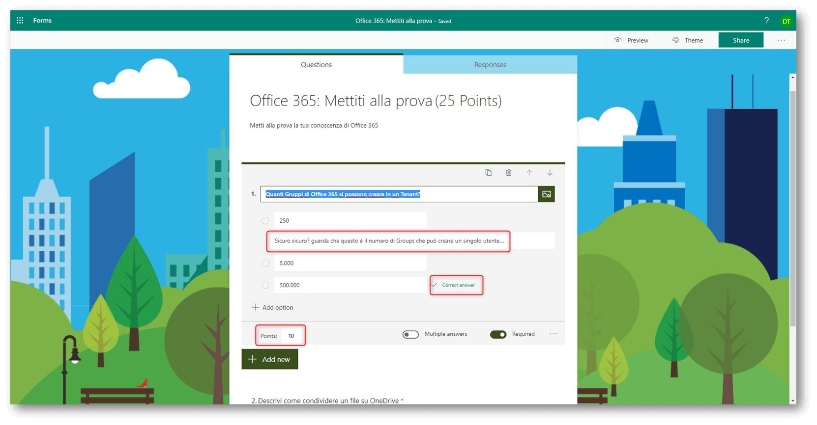 quiz su Microsoft Forms