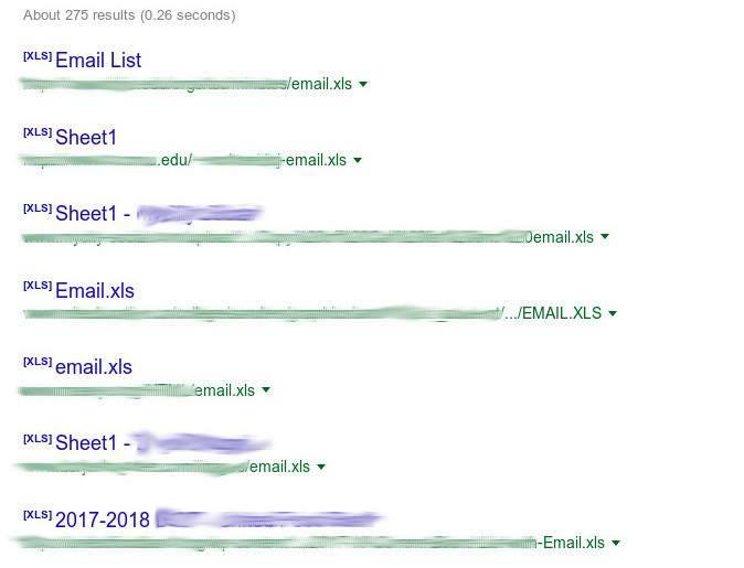 lista di indirizzi email