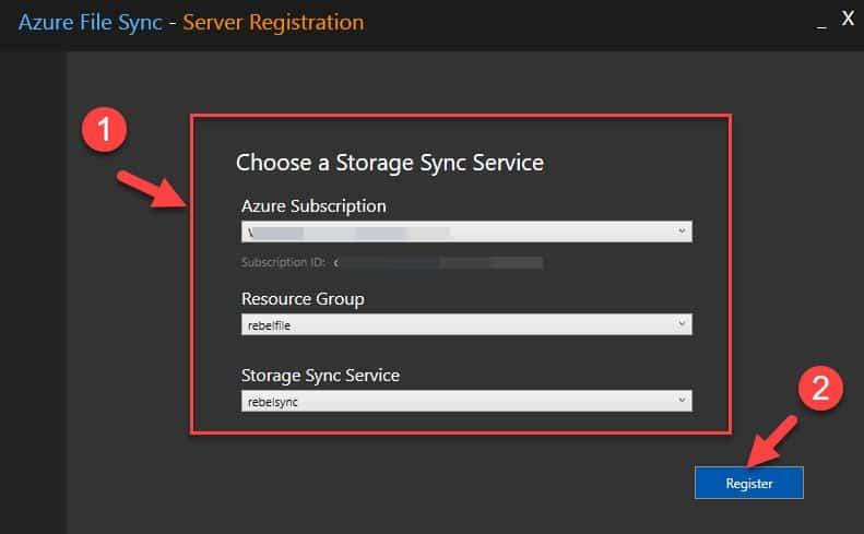 azure server registration