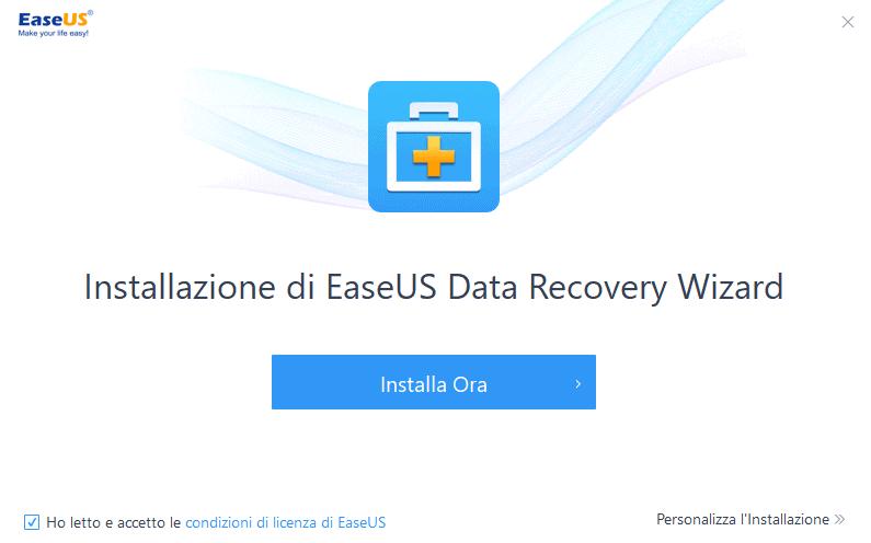 Easyus data recovery wizard installazione