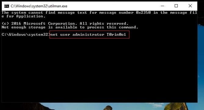reset password administrator