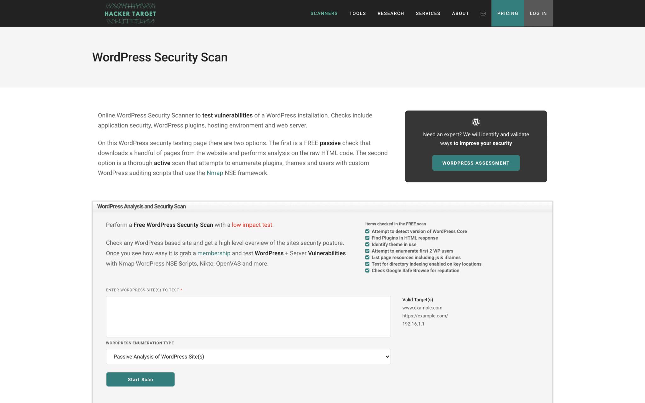 wordpress security scan