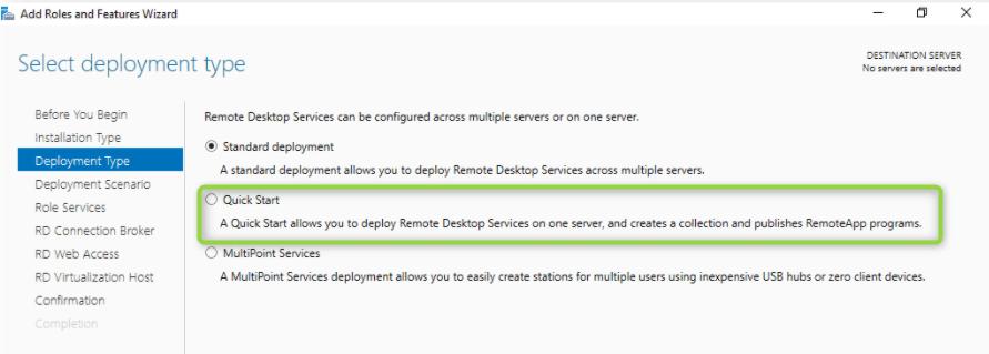 Remote Desktop Services Quick start Windows Server 2019