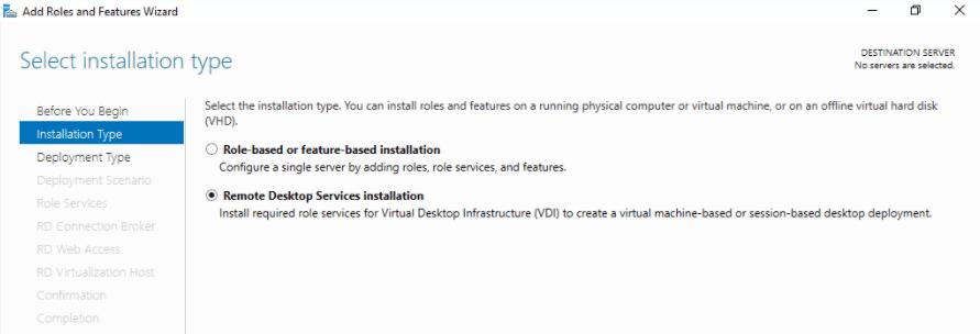 Remote Desktop Services - Installazone ruolo Windows Server