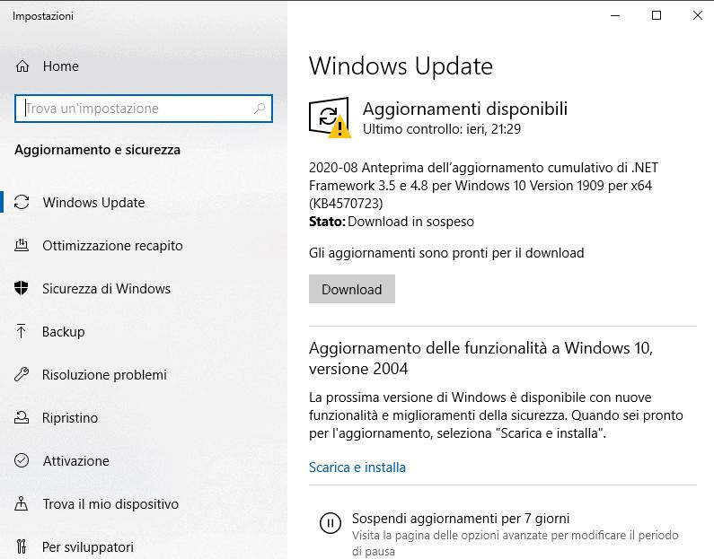 Windows Update Pannello di Controllo