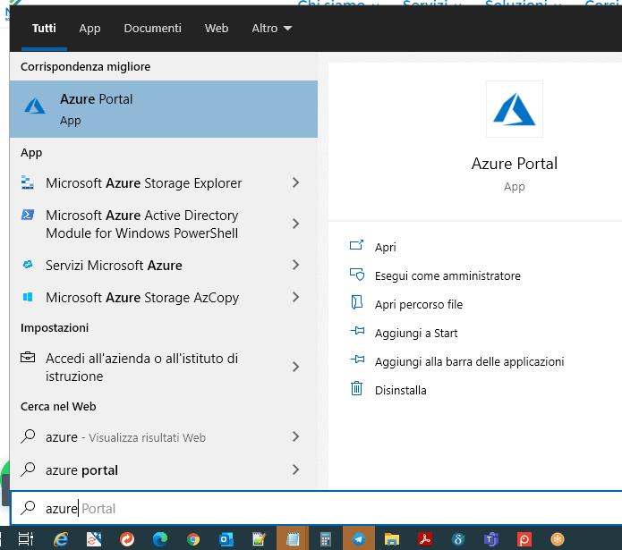Azure App Startmenu