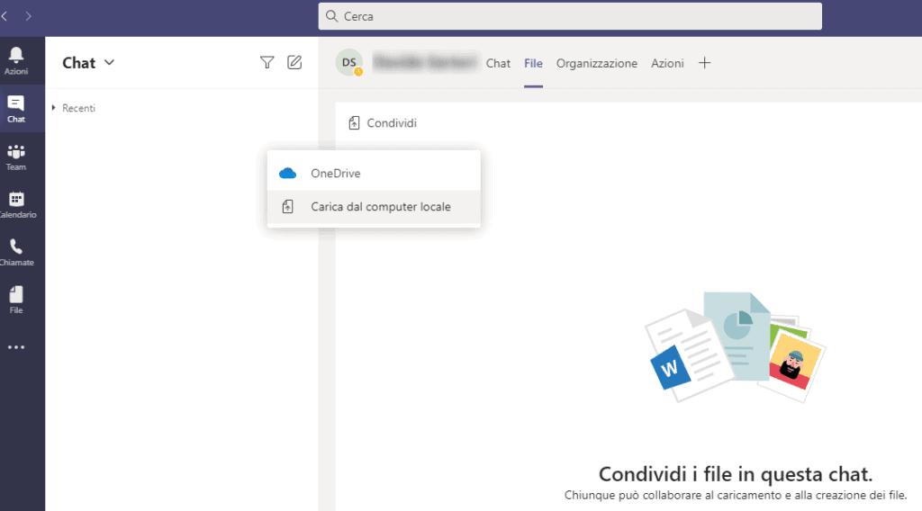 Microsoft Teams: condivisione file