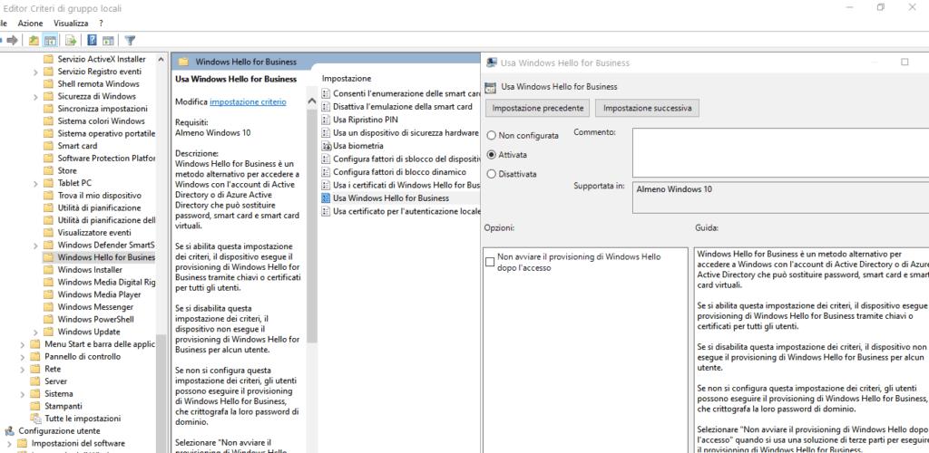 group policy per abilitare windows Hello