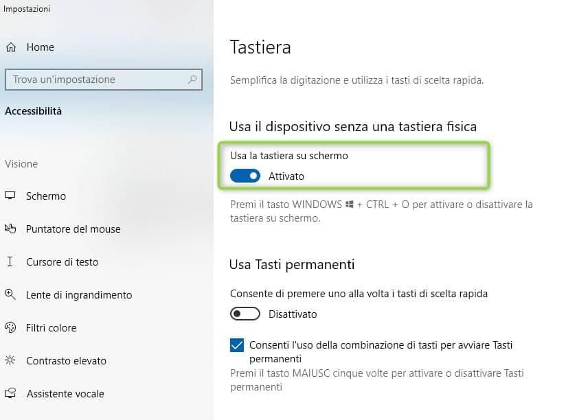 tastiera virtuale windows 10