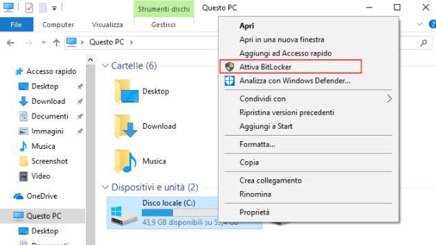 Attivare Bitlocker Windows 10