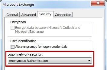 Autenticazione Anonima Outlook 2013