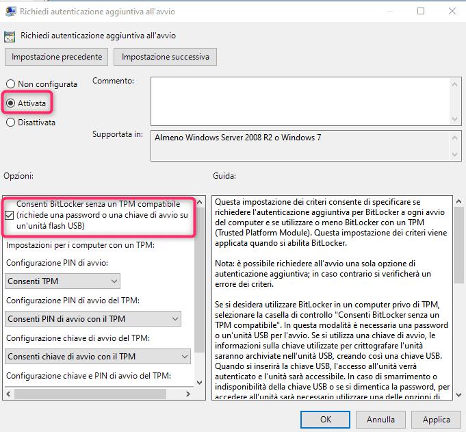 Abilitare Bitlocker senza TPM
