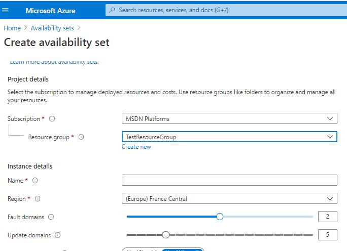 Creazione Availability Set Azure