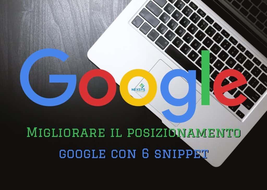 Migliorare il posizionamento Google con 6 snippet - Consulenza IT - Nexsys