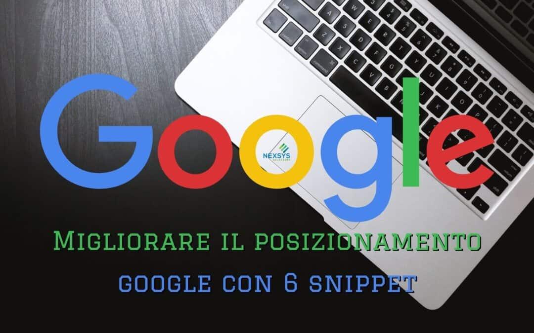 Migliorare il posizionamento Google con 6 snippet