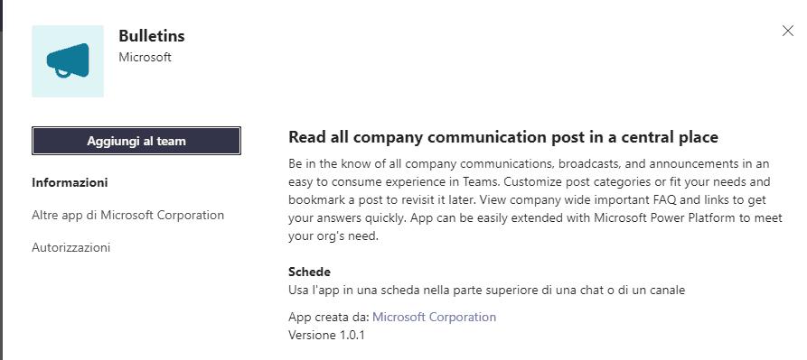 Microsoft Bulletins Teams