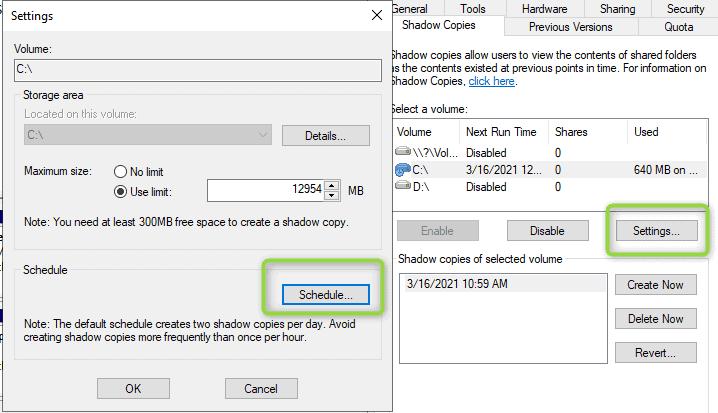 Schedulazione shadow copy windows server
