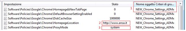 chiavi di registro Chrome